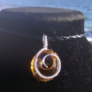 Silver Wrapped Faux Amber Bl Leather Necklace